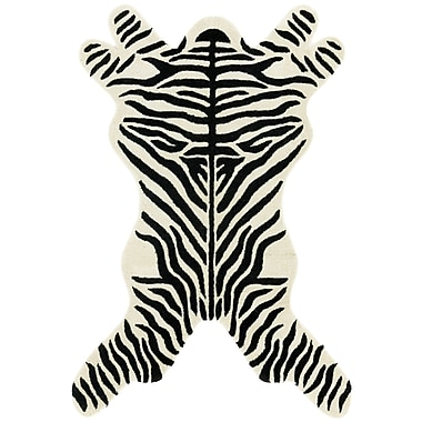 St. Croix Safari Zebra Black/White Area Rug; 4' x 6'