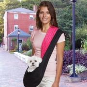 East Side Collection Reversible Sling Dog Carrier; Black / Pink