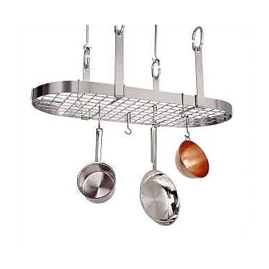Enclume USA Handcrafted 4-Point Grid Oval Pot Rack; Stainless Steel