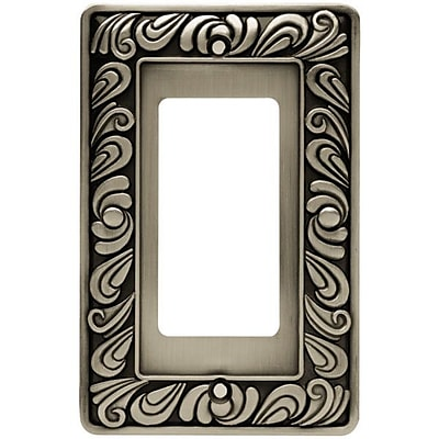 Franklin Brass Paisley Single GFCI/Rocker Wall Plate; Brushed Satin Pewter
