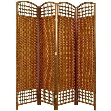 Oriental Furniture 67'' x 51'' Weave 4 Panel Room Divider; Dark Beige