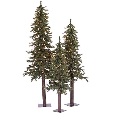 Vickerman Natural Alpine Green Artificial Christmas Tree w/ 450 Clear Lights & Stand