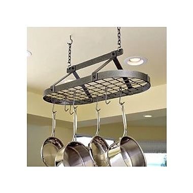 Enclume USA Handcrafted Decor Oval Pot Rack; Hammered Steel