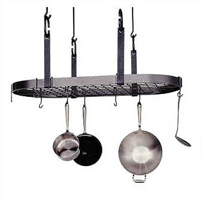 Enclume USA Handcrafted 4-Point Grid Oval Pot Rack; Hammered Steel