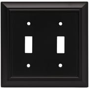 Brainerd Architectural Double Switch Wall Plate; Flat Black