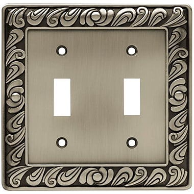 Franklin Brass Paisley Double Switch Wall Plate; Brushed Satin Pewter