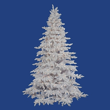 Vickerman Flocked White Spruce 7.5' Artificial Christmas Tree w/ 850 Clear Lights w/ Stand