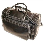Floto Imports Torino 20'' Leather Travel Duffel; Black