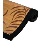 Oriental Furniture Tropical Tan Leaf Bamboo Rayon Area Rug; 2' x 3'