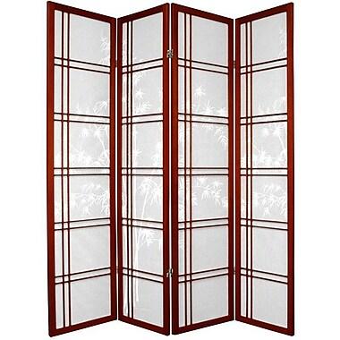 Oriental Furniture 72'' x 56'' Bamboo Tree Double Cross Shoji 4 Panel Room Divider; Rosewood