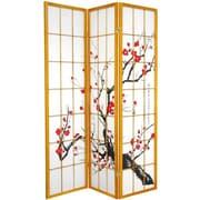 Oriental Furniture 70.25'' x 42'' Bamboo Blossom 3 Panel Room Divider; Honey