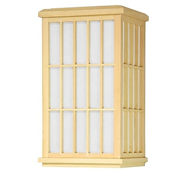Oriental Furniture Japanese Window Pane 1-Light Flush Mount; Natural