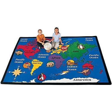 Carpets for Kids Geography Blue World Explorer Area Rug; Rectangle 5'10'' x 8'4''
