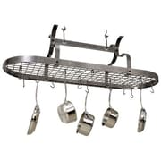 Enclume USA Handcrafted Scroll Arm Oval Pot Rack; Hammered Steel