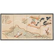 Oriental Furniture 36'' x 72'' Paradise Silk 4 Panel Room Divider