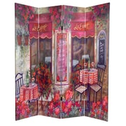 Oriental Furniture 72'' x 48'' Double Sided Parisian Cafe 4 Panel Room Divider