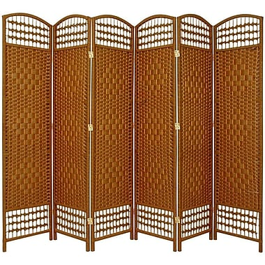 Oriental Furniture 67'' x 76'' Weave 6 Panel Room Divider; Dark Beige