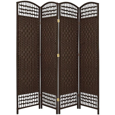 Oriental Furniture 67'' x 51'' Weave 4 Panel Room Divider; Dark Mocha