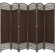 Oriental Furniture 67'' x 76'' Weave 6 Panel Room Divider; Dark Mocha