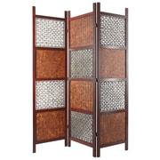 Oriental Furniture 71'' x 53'' Bamboo Tree Leaf 3 Panel Room Divider