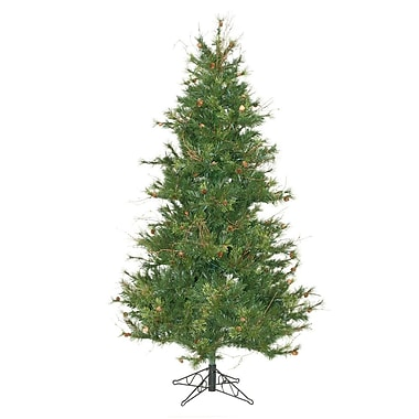 Vickerman Mixed Country Pine Slim 7.5' Green Artificial Christmas Tree w/ Stand