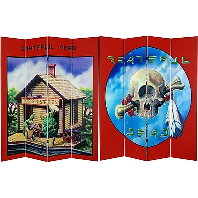 Oriental Furniture 71'' x 63'' Tall Double Sided Grateful Dead Terrapin Station 4 Panel Room Divider