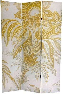 Oriental Furniture 71'' x 47.63'' Birds & Flowers French Toilel 3 Panel Room Divider