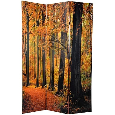 Oriental Furniture 70.88'' x 47.25'' Double Sided Autumn Trees 3 Panel Room Divider