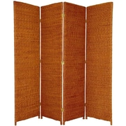 Oriental Furniture 71'' Tall Rush Grass Woven 4 Panel Room Divider; Honey