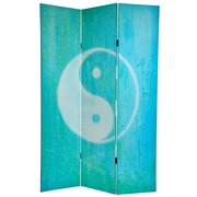 Oriental Furniture 70.88'' x 47.25'' Yin Yang / Om 3 Panel Room Divider