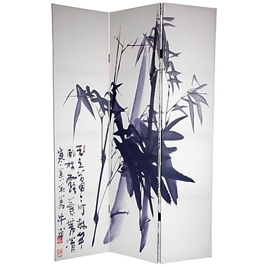 Oriental Furniture 72'' x 64'' Bamboo Tree Double Sided Calligraphy 3 Panel Room Divider