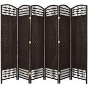Oriental Furniture 67'' x 76'' Weave 6 Panel Room Divider; Black
