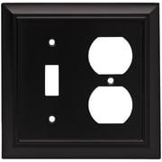 Brainerd Architectural Single Switch/Duplex Wall Plate; Flat Black