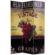 Oriental Furniture 70.88'' x 47.25'' Grapes and Cherries 3 Panel Room Divider
