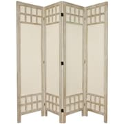 Oriental Furniture 67'' Tall Window Pane Fabric 4 Panel Room Divider; White