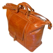 Floto Imports Tack 16'' Leather Travel Duffel; Orange