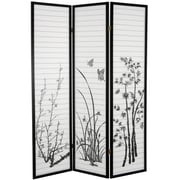 Oriental Furniture 70.25'' x 52.5'' Bamboo and Blossoms 3 Panel Room Divider