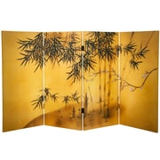 Oriental Furniture 36'' x 50.4'' Bamboo Tree Double Sided Tree 4 Panel Room Divider