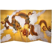 Oriental Furniture 36'' x 63'' Double Sided Dragon in the Sky 4 Panel Room Divider