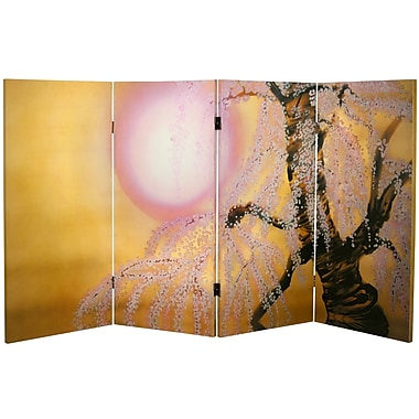 Oriental Furniture 36'' x 50.4'' Double Sided Sakura Blossoms 4 Panel Room Divider