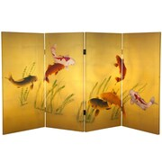 Oriental Furniture 36'' x 50.4'' Double Sided Seven Lucky Fish 4 Panel Room Divider
