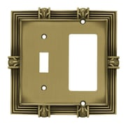 Franklin Brass Pineapple Single Switch GFCI/Rocker Wall Plate; Tumbled Antique Brass