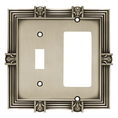 Franklin Brass Pineapple Single Switch GFCI/Rocker Wall Plate; Brushed Satin Pewter