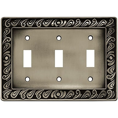 Franklin Brass Paisley Triple Switch Wall Plate; Brushed Satin Pewter