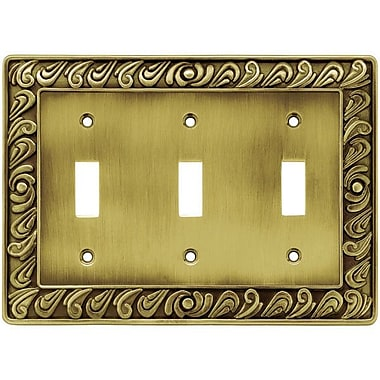 Franklin Brass Paisley Triple Switch Wall Plate; Tumbled Antique Brass