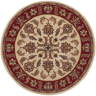 LR Resources Shapes Ivory/Red Traditional Floral Rug; Round 5'