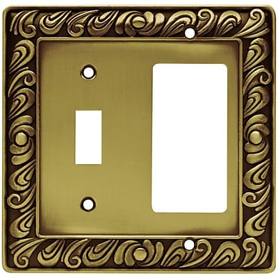 Franklin Brass Paisley Single Switch GFCI/Rocker Wall Plate; Tumbled Antique Brass