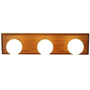 Monument 3-Light Bath Bar; Oak with Polished Brass