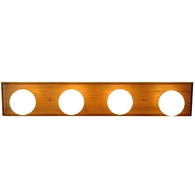Monument 4-Light Bath Bar; Oak with Polished Brass