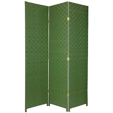 Oriental Furniture 71'' Tall Woven Fiber Outdoor All Weather 3 Panel Room Divider; Green